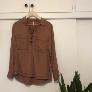 Free People Lace Up Rust Blouse